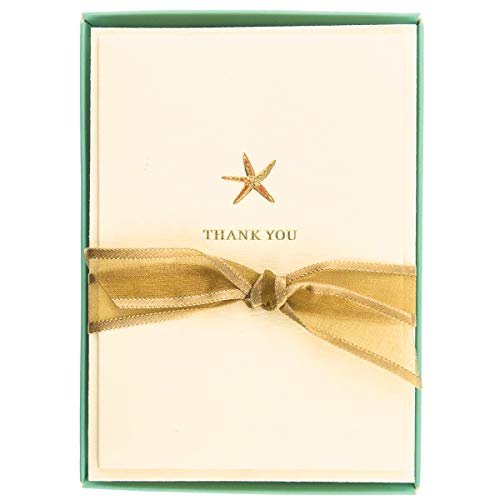 Graphique Starfish La Petite Presse Boxed Notecards - 10 Embossed and Embellished Gold Foil Starfish Blank Cards with Matching Envelopes, 3.25' x 4.75'