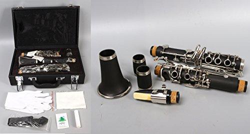 Yinfente Professionelle Klarinette aus Ebenholz B Flacher C-Schlüssel, 2 Barrels mit Tasche, Zubehör C-Key