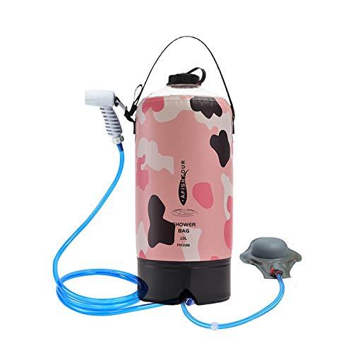 Prevessel Bolsa de ducha solar con cabezal de ducha, 10 l, bolsa de ducha climatizada, para viajes al aire libre, bolsa de agua caliente de PVC ajustable para playa, natación, senderismo y escalada