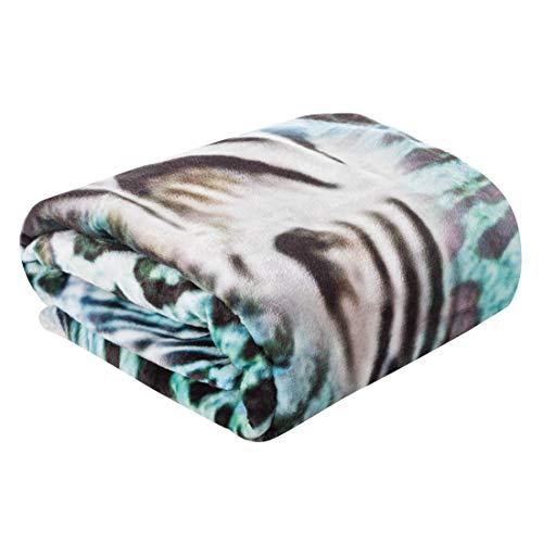 Eurofirany deken sprei woondeken pluizig zacht patroon zacht woonkamer slaapkamer bank deken sofadeken goot, turquoise + beige, 150x200cm