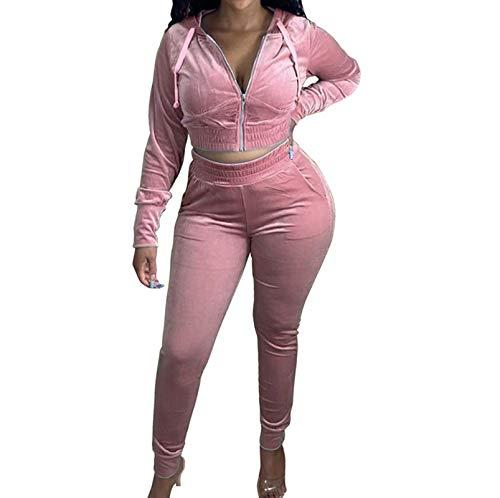 Women Velvet Tracksuit Set Zip Up Hoodie Jakcet Long Pants Jogging Suits 2 Piece Sweatsuit Outfits (Light Pink, M)