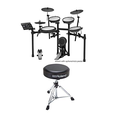 Roland TD-17KV V-Drums Electronic Drum Set with Custom Black Stand and Roland Round Drum Throne