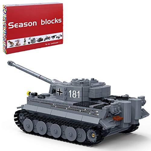 Bybo Técnica tanque tanque tanque de construcción, tanque Technical Tiger 1:18 militar, bloques de construcción 1010 compatibles con Lego