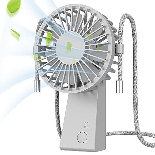 Ventilador USB,Baozun Mini Ventiladores de cuello de Mano Portátil con Cuerda para Colgar Puede Girar 90 Grados 3 Velocidades Eléctrico Ventilador Recargable para Oficina,Hogar,Aire Libre Viajes(Gris)