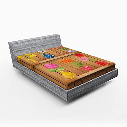 ABAKUHAUS Gele narcis Hoeslaken, Bloemen cartoon in Vaas, Zachte Decoratieve Stof Beddengoed, Elastische Band Rondom, 150x 190 cm, Veelkleurig
