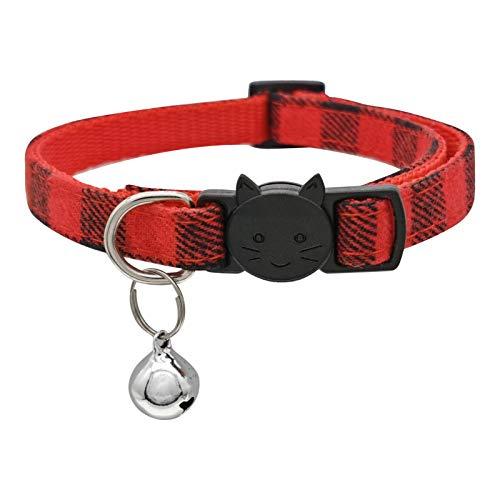 MJIYA Collar de gato para perro con campana de rejilla de plástico con collares ajustables de luz (rojo, M)