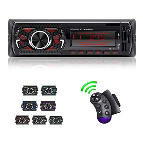 LSLYA ricevitore stereo per auto singolo DIN, sistema audio 4x60W radio FM/AM, chiamata a mani libere Bluetooth, telecomando per volante, scheda USB/TF/AUX-IN, con retroilluminazione LCD a 7 colori