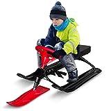 Qdreclod - Slitta da neve con doppi freni e volante, per sci, slittino da neve, sport all'aria aperta, slittino, sci, skooter per bambini e adulti, telaio in acciaio