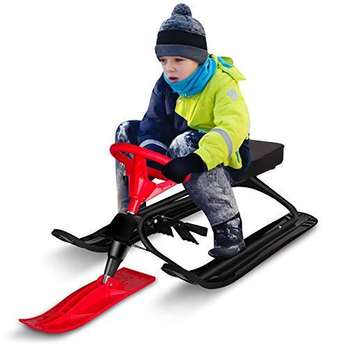 Qdreclod Trineo de nieve con doble freno y volante de esquí, trineo de nieve para deportes al aire libre para niños y adultos, marco de acero, para carril de nieve