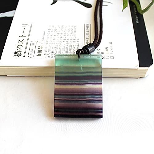 LiuliuBull Piedra de Cristal Natural Colorido Fluorite Colgante de la joyería Curación de la curación Chakra Personalized Necklace Cuarzo Cuadrado Peace Coche (Size : 48mmX36mm)