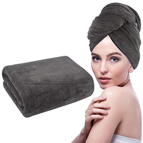KinHwa Handtuch Turban Groß Handtuchturban für Langes Haar Super Weich Haarhandtuch Schnelltrocknend 61cm x 112cm 1 Pack Dunkelgrau