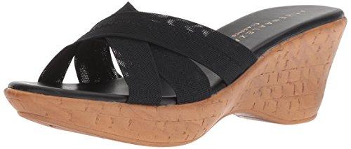Athena Alexander Women's Optima Wedge Sandal, Black Stretch, 11 M US
