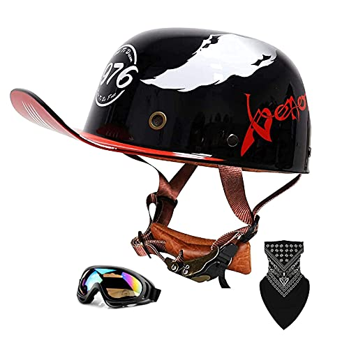 QHHALXZ Medio casco de motocicleta retro medio casco gorra de béisbol gorra de cráneo casco medio casco de motocicleta para hombres y mujeres