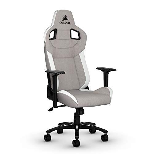 Corsair T3 Rush, Polyester Stoff Gaming Büro Stuhl (Atmungsaktivem Weichen Stoff, Gepolsterten Nackenkissen, Lendenstütze aus Memory-Schaumstoff, 4D-Armlehnen, Leich Montieren) grau/weiß
