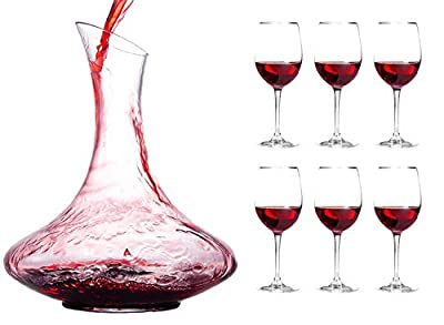 Chef's Star Wine Decanter 1800ml Premium Made Set with Stemmed Wine Glasses; 100% Lead Free Crystal Glass for Aerating Red Wine; Authentic Wine Accessory, No Handle + 6 Glasses Culinaire