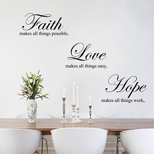decalmile Wandtattoo Sprüche und Zitate Faith Makes All Things Possible, Love, Hope Wandsticker Schwarz Wandaufklebe Wohnzimmer Schlafzimmer Esszimmer Wanddeko