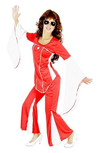 Foxxeo 40113 | 70er Jahre Kostüm Disco Damenkostüm Super Trooper, Größe:XXL