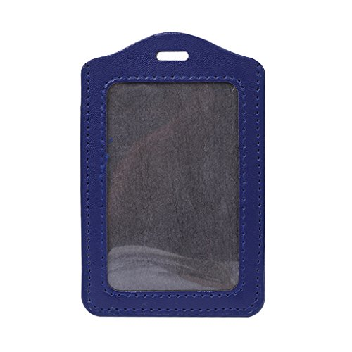 UNWSTYU Tarjetero de identificación para hombre, 10 colores, ventana de identificación, soporte de tarjetas de trabajo, funda de piel, tipo vertical