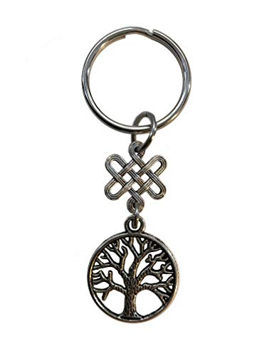 Pewter Celtic Knot Tree of Life Silver Tone Basic Keychain