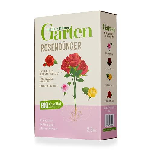 Mein schöner Garten Rosendünger 2,5kg – Zulässig für den Bio-Anbau – Dünger für alle Rosen – Kräftigender Rosendünger – Organisch – 3 Monate Langzeitwirkung - Unbedenklich für Natur und Tiere