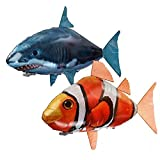 Sisyria Remote Control Flying Shark Toy Air Swimmers Remote Control Clownfish RC Animal Toy for Children DIY Plastic Inflatable Balloon