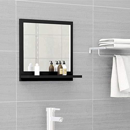 vidaXL Badspiegel mit Ablage Wandspiegel Badezimmerspiegel Hängespiegel Bad Spiegel Badezimmer Badmöbel Schwarz 40x10,5x37cm Spanplatte