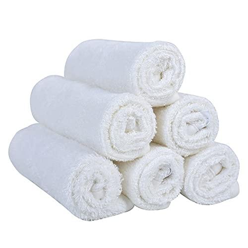 Paquete de 6 paños de baño Suaves de 10'x 10' BlancosToallas de bambú100% bebés Kit de baño de Viaje para bebés - MX6001
