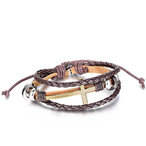 JewelryWe Schmuck Fashion Kreuz Beads Ringe Legierung Leder Armband, Geflochten Herren Damen Lederarmband Armreif, 19,5cm-25,5cm Verstellbare Größe, Braun Silber