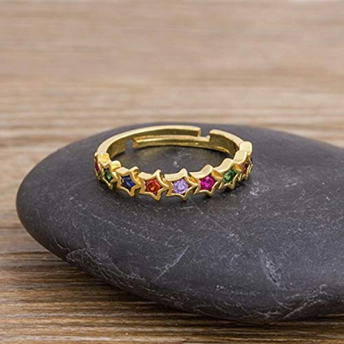 Open Rings for Women 12 Styles Gold Filled Rainbow Crystal Rings for Women Adjustable Cubic Zirconia Opening Geometric Ring Gifts R67