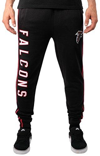 Ultra Game Men's NFL Jogger Pants Active Basic Fleece Sweatpants, Atlanta Falcons, Team Color Stripe, X-Large