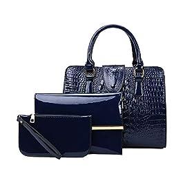SDINAZ® Sacs portés main Femme Mode vernis Cabas Sacs portés épaule Sacs bandoulière Sac a main 3pc ensemble FR81 Bleu