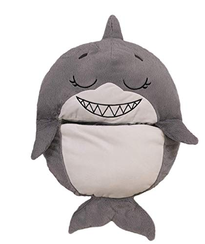 Happy Nappers, tiburón, la Almohada 2 en 1 Que se transforma en Saco de Dormir – Vista a la televisión, Grande – Dimensiones Abiertas 167 x 76 cm – Nappers14-MOB – Gris/Blanco