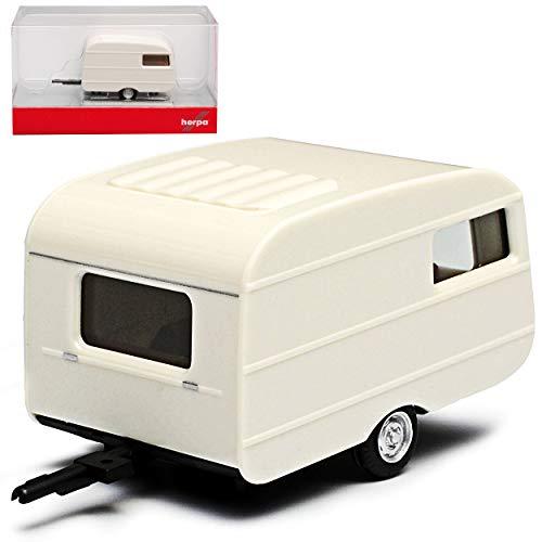 Herpa QEK Junior Wohnwagen Anhänger Weiss DDR 1974-1990 H0 1/87 Modell Auto mit individiuellem Wunschkennzeichen