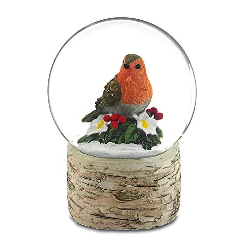 The San Francisco Music Box Company Resting Robin on Holly Snow Globe