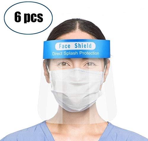 HEHE 6 Viseras Protectoras para la Cara, plástico Ligero, Ajustable, Transparente (Azul)