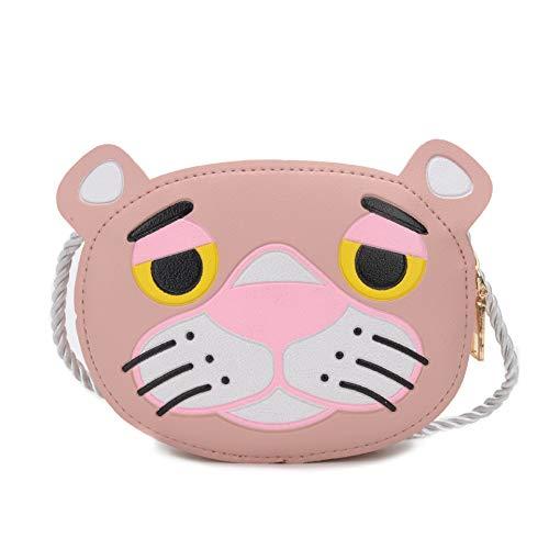 JOY-TIME 3PCS versión Coreana de los niños y niñas Bolsa de Mensajero del bebé Animal Lindo Bolso de Hombro de Moda Bolsa pequeña niños Diagonal Cruz Monedero,Pink Panther