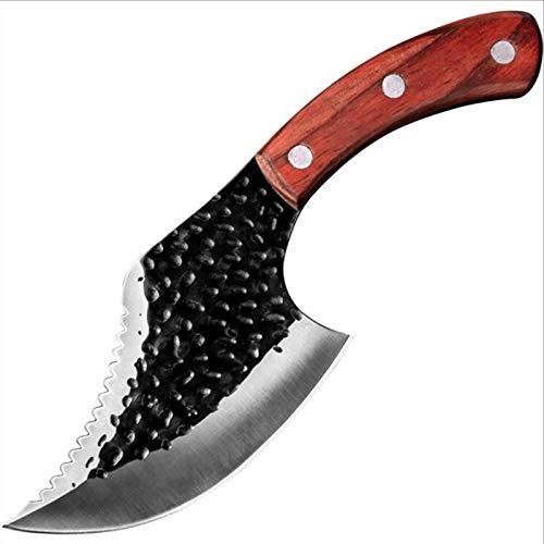 Xiao Jian Cuchillo de Carnicero de 10 Pulgadas 5cr15 Cuchillo Profesional para Carne de Pescado Hacha pequeña Hoja Afilada de Acero Inoxidable Mango de Madera Maciza de diseño ergonómico