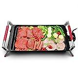 Xinyexinwang Barbecue électrique Portable Super Grande capacité 6 températures réglables Revêtement antiadhésif extérieur Barbecue Pique-Nique terrasse Camping randonnée 50 x 28 x 11,5 cm