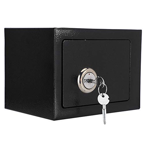 Caja Fuerte de Seguridad Negro, Caja de Acero de Alta Seguridad con Llaves, 23 x 17 x 17.3 cm