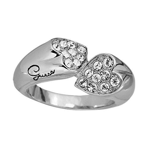 Guess Damen Ring silber Doppel Herz UBR11404 Gr.54
