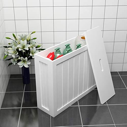 Woodluv, mobiletto multiuso da bagno, in MDF, struttura sottile, colore bianco, dimensioni 49,5 cm x 16 cm x 40 cm