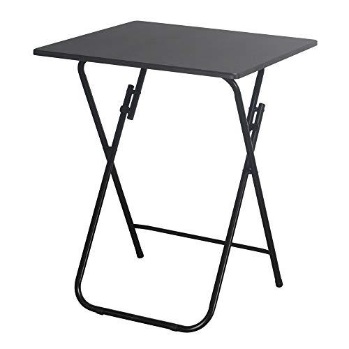 URBNLIVING Mesa auxiliar plegable con patas de metal, negro, Small