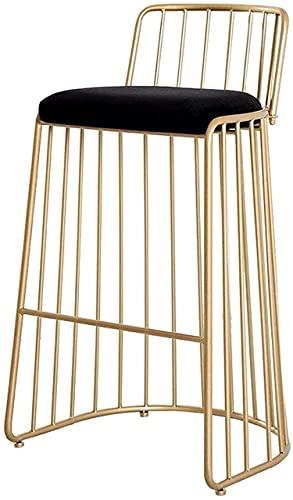 Bar Stools Silla con mostrador de la Silla Silla de Barra de Hierro de Metal con Asiento de Terciopelo tapizado Diseño Simple Línea de Trabajo Pesado para Pub, Café, Cocina, Restaurante
