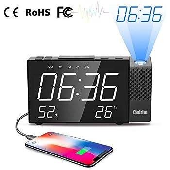 PEYOU Radio Réveil à Projection,Horloge Numérique FM USB