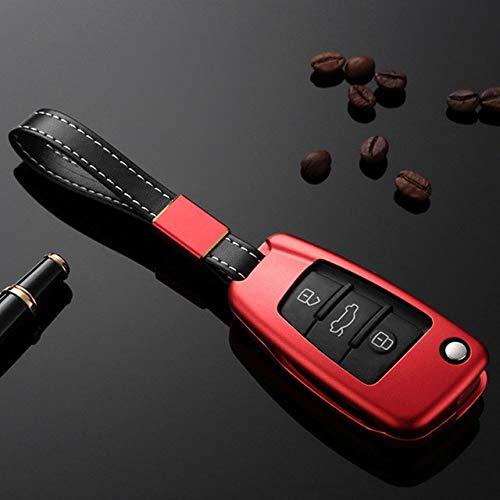 HEZHOUJI Cubierta de la Llave del Coche de la aleación de Aluminio, Funda Protectora del Control Remoto de la Caja de la Llave del cinturón para Audi A3, A4 S5 A6 Q3 Q5 R8 TT, A-Red