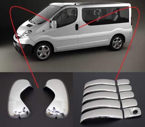 Si adatta a Opel Vivaro 2001-2014 ABS cromato specchio Covers&Door Handle Covers 5Door