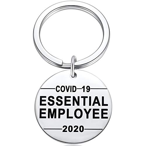 Ralukiia 2020 Essential Employee Keychain for Frontline Coworkers Quarantine Nurse Appreciation Present Thank You Gifts