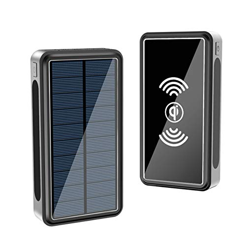 AZD Wireless Solar Phone Charger, Qi Wireless Charger, Portable Fast Charge External Battery Pack with 4 USB Outputs & LED Lights Solar Power Bank for iPhone,Black,30000mAh