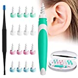 Earwax Remover Tool, Ear Wax Cleaner, Ear Wax Remover, Soft Silicone Spiral Earwax Remover Tool, 16 Replacement Heads, q-tip Replacement