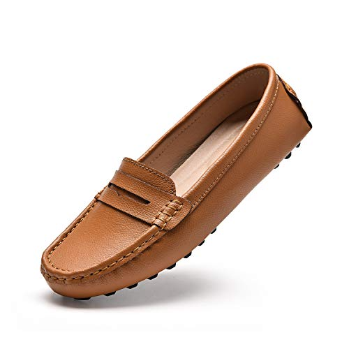 BEAUSEEN Women's Brown Penny Loafers Leather Driving Moccasins Comfort Boat Shoes Size 8.5 BES-2207ZON085